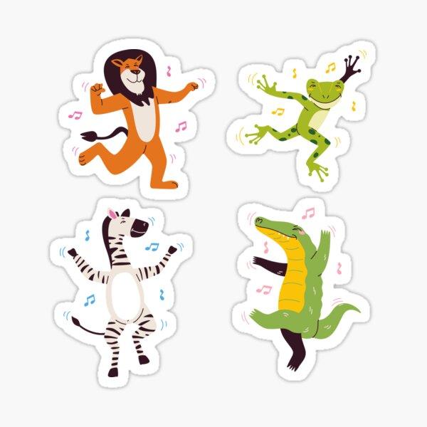 Animales bailando con música: tigre bailarín, rana bailarina, cebra bailarina, cocodrilo o cocodrilo bailarín Pegatina