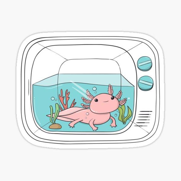 Cute Axolotl In Tank Sticker