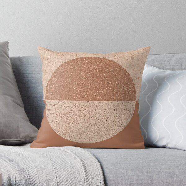 Earth tone mid century geometry Throw Pillow