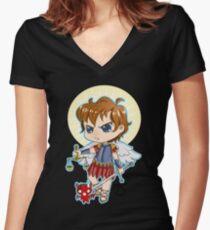 Chibi St. Michael Women's Fitted V-Neck T-Shirt