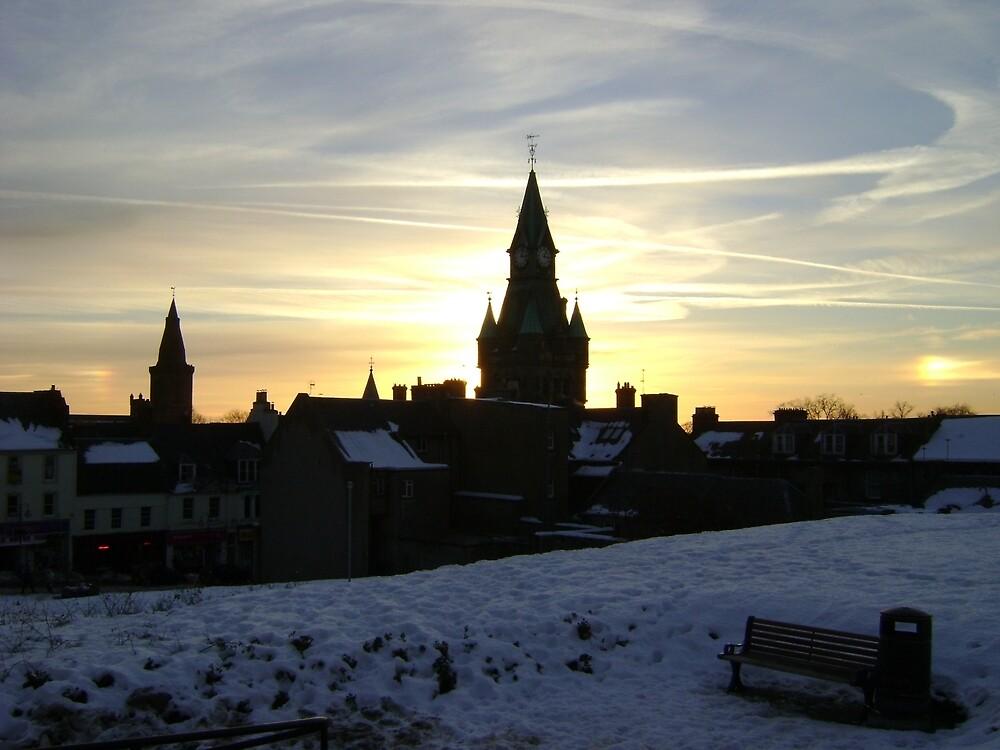 Sundogs, sunset behind City Chambers, Dunfermline by armadillozenith