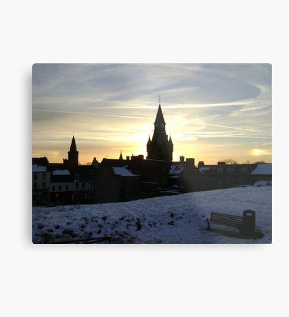 Sundogs, sunset behind City Chambers, Dunfermline Metal Print