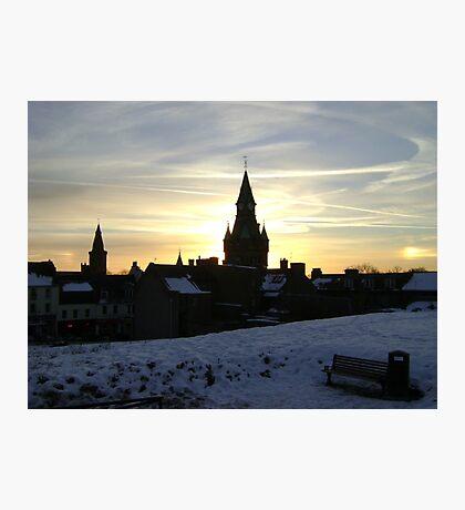 Sundogs, sunset behind City Chambers, Dunfermline Photographic Print