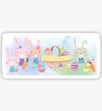 Cute Watercolors Easter Bunnies Eggs Basket Sticker