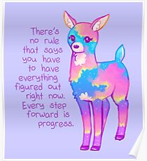 """Every Step Forward is Progress"" Sunset Deer Poster"