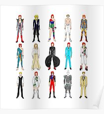 Outfits of Bowie Fashion Poster
