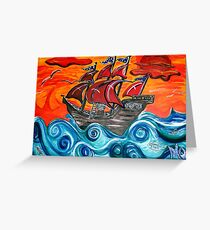 pirate ship windy sunset Greeting Card