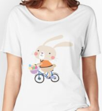 Holidays Easter Bunny on Bicycle With Eggs Women's Relaxed Fit T-Shirt