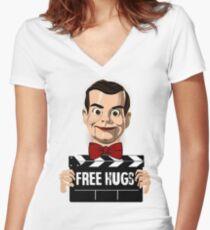 slappy free hugs Women's Fitted V-Neck T-Shirt