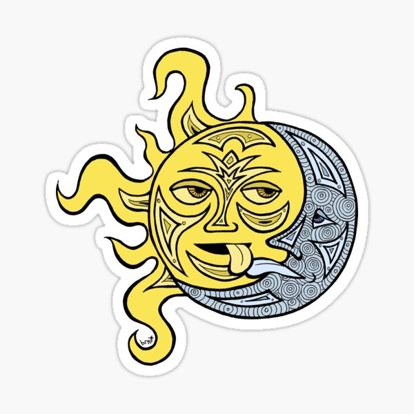 Kissing Sun and Moon Sticker
