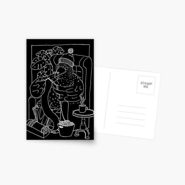 Der strickende Rabe (weiß)  Postkarte