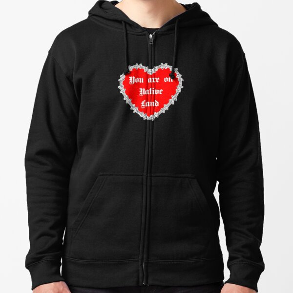 Native Land Valentine heart Zipped Hoodie