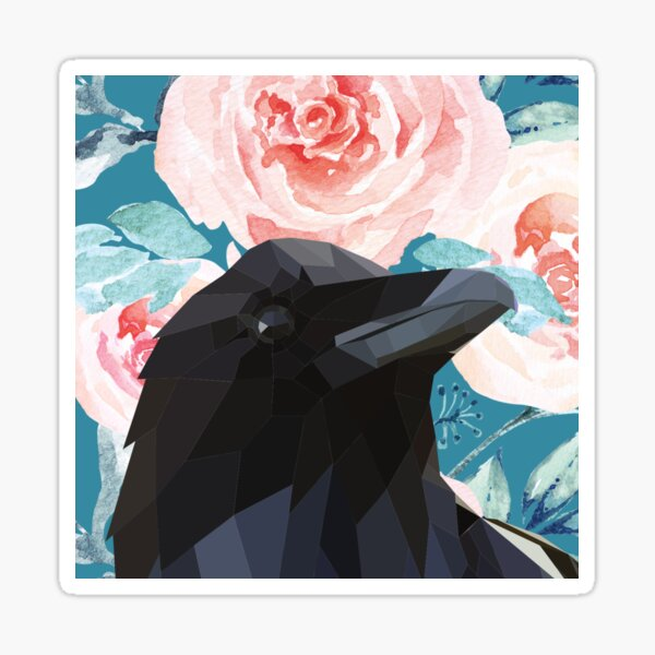 Good Omens Black Crow And Rose  Sticker