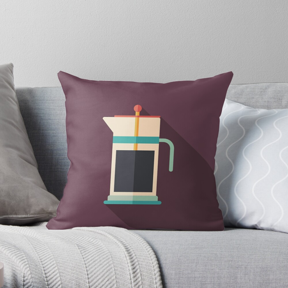 French Press Coffee Throw Pillow