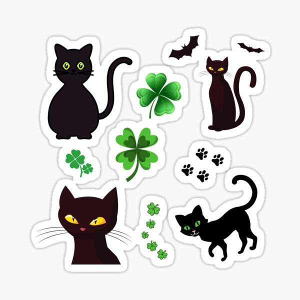 Good Omens Clover And Black Cat  Sticker