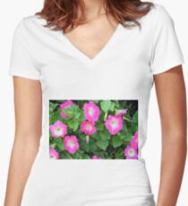 Purple flowers, natural background. Women's Fitted V-Neck T-Shirt