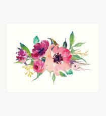 Watercolor Wild Flower Pink Bouquet Art Print