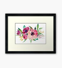 Watercolor Wild Flower Pink Bouquet Framed Print