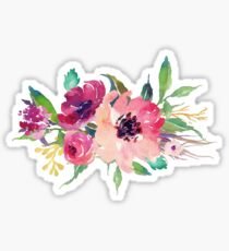 Watercolor Wild Flower Pink Bouquet Sticker