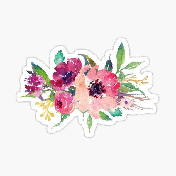 Watercolor Wild Flower Pink Bouquet Sticker