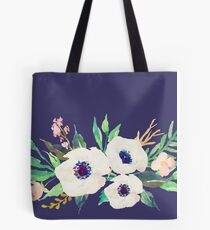 White Pink Anemone Watercolor Flower Bouquet Tote Bag