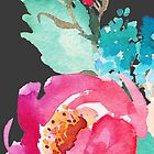 Watercolor Colorful Pink Coral Turquoise Flowers by junkydotcom