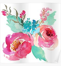 Watercolor Colorful Pink Coral Turquoise Flowers Poster