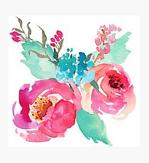 Watercolor Colorful Pink Coral Turquoise Flowers Photographic Print