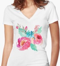 Watercolor Colorful Pink Coral Turquoise Flowers Women's Fitted V-Neck T-Shirt