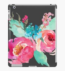 Watercolor Colorful Pink Coral Turquoise Flowers iPad Case/Skin