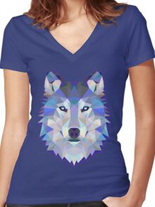 WOLF, THE CLEVER Women's Fitted V-Neck T-Shirt