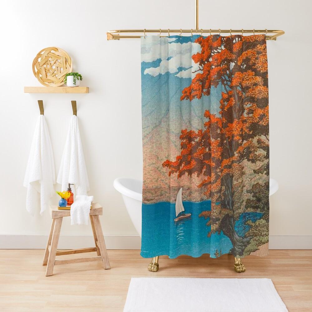Lake Chûzenji at Nikkô by Kawase Hasui Vintage Japanese Woodblock Print East Asian Cultural Art Shower Curtain