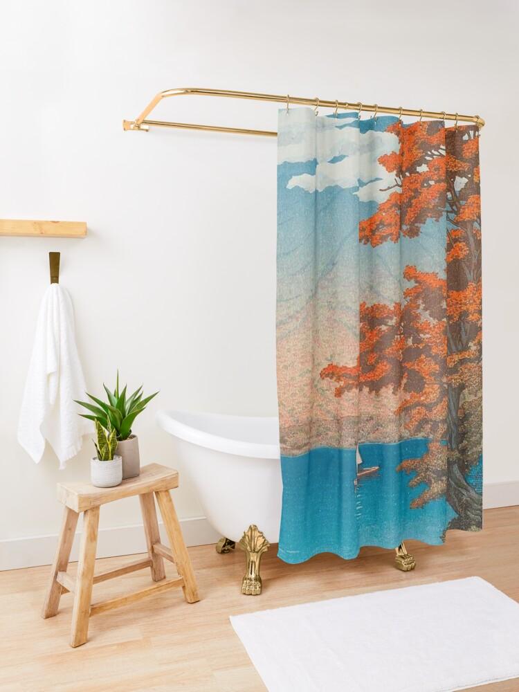 Alternate view of Lake Chûzenji at Nikkô by Kawase Hasui Vintage Japanese Woodblock Print East Asian Cultural Art Shower Curtain