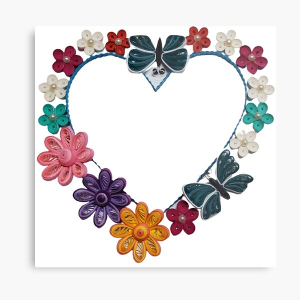 Paper Quilling Heart With Flowers Metal Print
