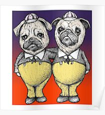 Tweedledum and Tweedledee Pugs Poster