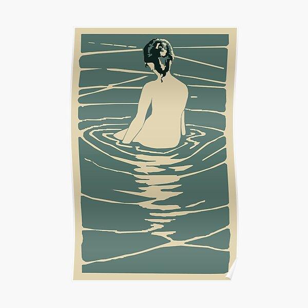Vintage Japanese Style art nouveau  Style mid century modern Zen Bather Poster