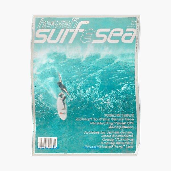 cartel de portada de revista surfista vintage Póster