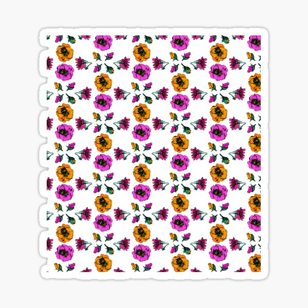 Pink, Yellow and Red Roses Print Sticker