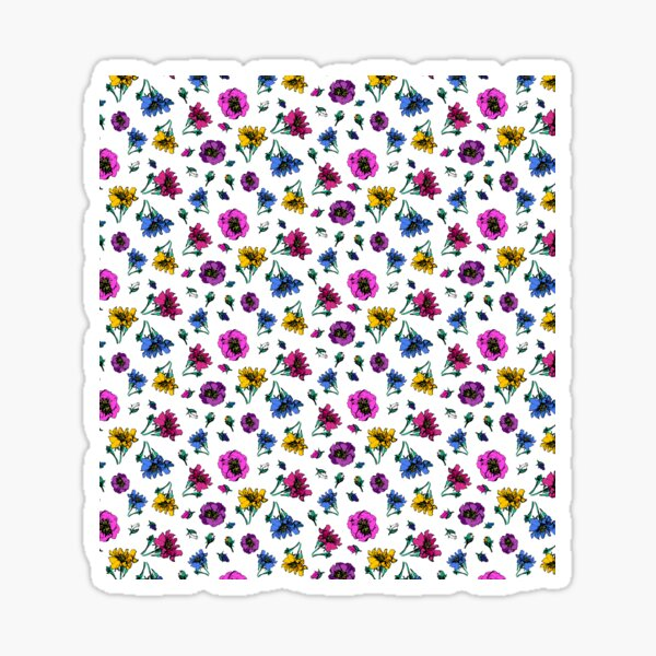 Colorful Ditsy Roses Sticker