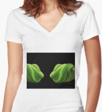Green Snake Women's Fitted V-Neck T-Shirt