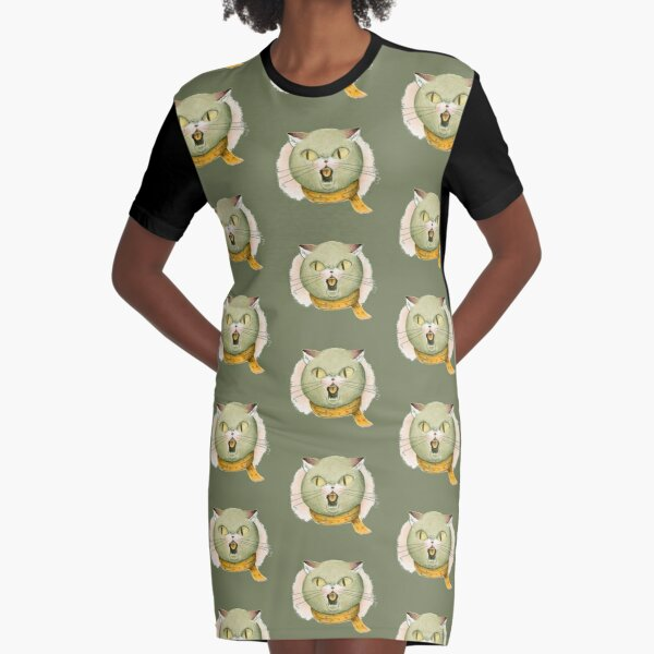 Hysterical cat Graphic T-Shirt Dress
