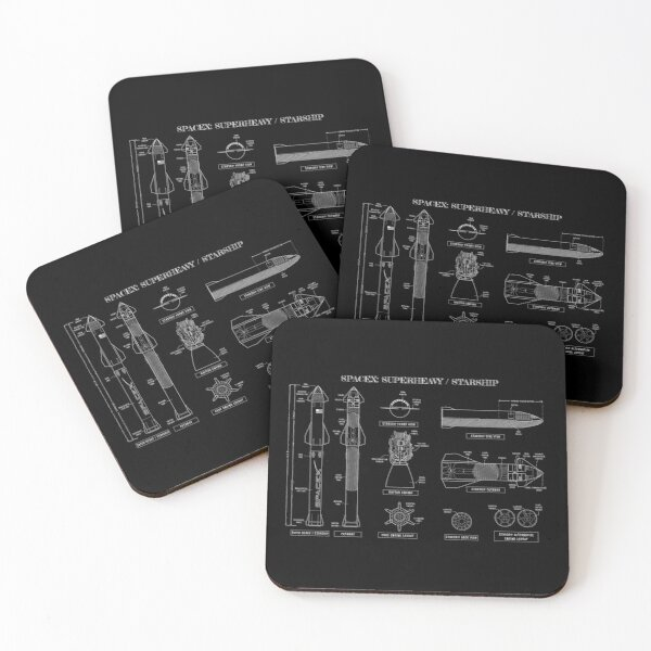 SPACEX: Super Heavy / Starship (White Stencil-No Background) Coasters (Set of 4)