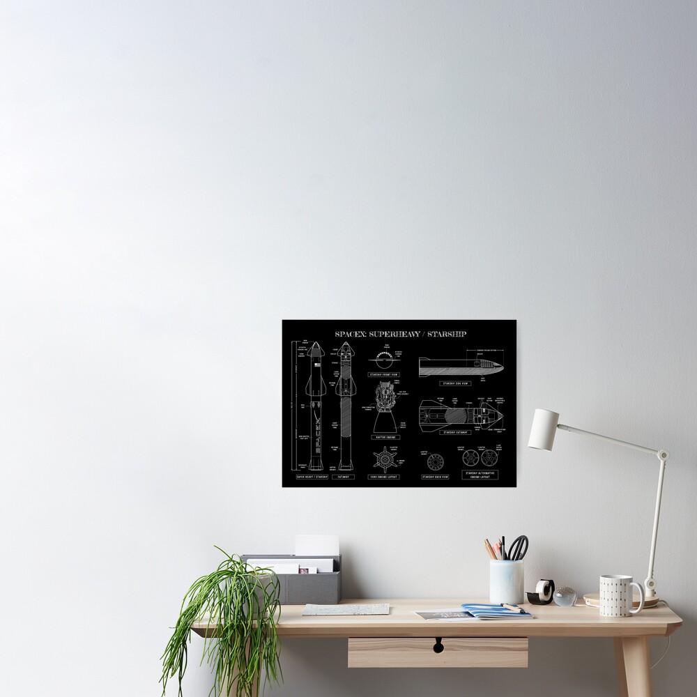 SPACEX: Super Heavy / Starship (White Stencil-No Background) Poster