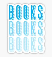 BOOKS BOOKS BOOKS in blue Sticker