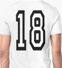 18, TEAM SPORTS, NUMBER 18, EIGHTEEN, EIGHTEENTH, ONE, EIGHT, Competition,  T-Shirt