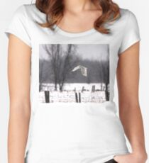 A snowy Snowy - Snowy Owl Women's Fitted Scoop T-Shirt