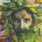 Greenman Watercolor  by justteejay