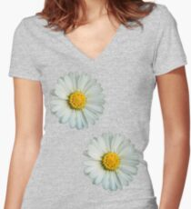 Two white daisies Women's Fitted V-Neck T-Shirt
