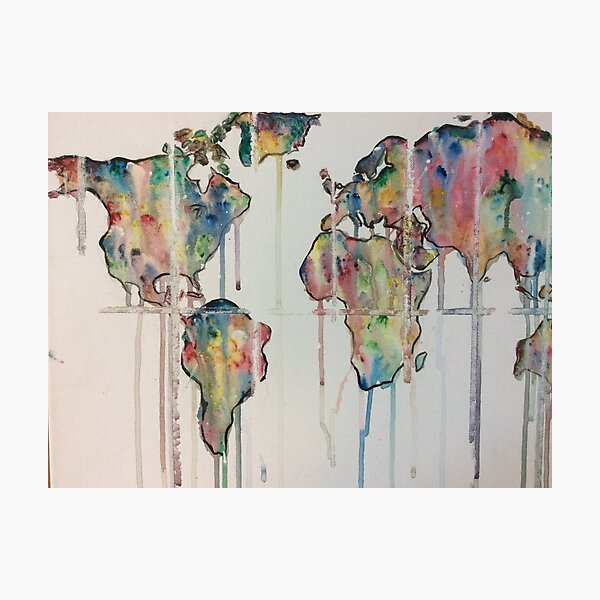 Color dripping world  Photographic Print