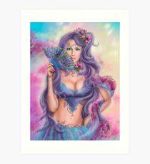 beautiful girl fantasy with fan Art Print